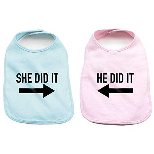 He Did It She Did It Arrow Twin Set Baby Cotton Bibs, Light Blue & Light Pink