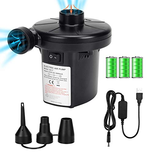 Air Pump for Inflatables, Electric Pump Air Mattress Pump Rechargeable Battery Air Pump with 3 Nozzles Inflator/Deflator for Camping Inflatable Cushions, Air Mattress Bed, Air Sofa, Boat, Pool Toys