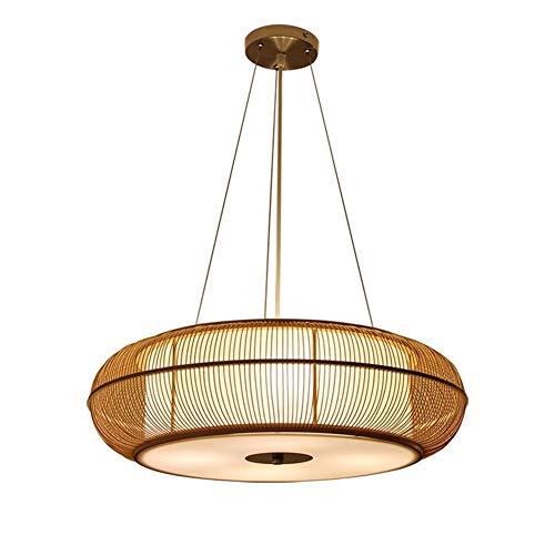 Iluminación colgante Iluminación de techo Rattan moderna lámpara de Zen Tea Room dormitorio de techo E27 Bombilla Luz pendiente de bambú que teje restaurante Lámpara colgante, natural Lámparas de arañ