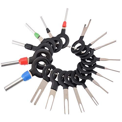 yyuezhi Terminal Removal Tools Stecker Ausbau Stecker Ausbau Werkzeug Auto Elektrische Kabel Extractor Kit KFZ Kabel Stecker Auto Reparatur Handwerkzeug Set für Flach- und Rundsteckkontakte (18Stück)