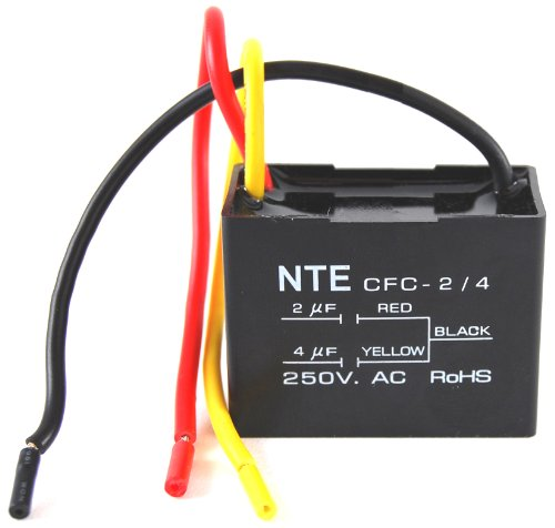 NTE Electronics CFC-2/4 Series CFC Polyester Ceiling Fan Capacitor, 3 Wire, 125/250 VAC, 2.0/4.0 Μf Capacitance