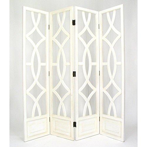 Wayborn Home Furnishing Charleston 4 Panel Room Divider, 76', White/Distressed Whitewash