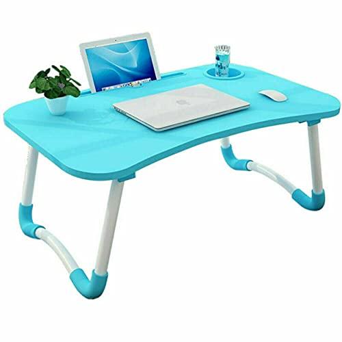 HoitoDeals Mesa plegable para portátil para escritorio de vuelta, ranura para taza de desayuno (1 pieza azul)