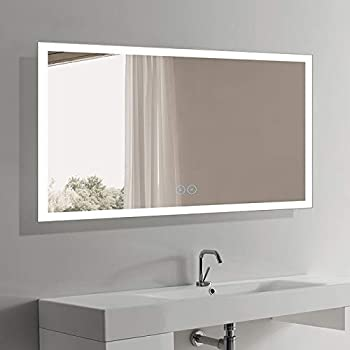 DECORAPORT Large 28x60 LED Full Length Backlit Mirror Oversized Rectangle Dressing Mirror with Infrared Sensor 010-CG Wall Mounted Full Size Mirror with Lights