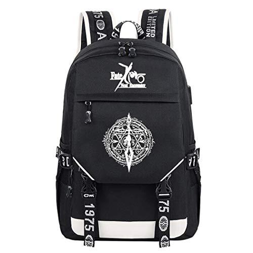WANHONGYUE Fate Zero Anime Cosplay Leuchtend Rucksack Schultasche Laptop Backpack mit USB-Ladeanschluss Schwarz / 3