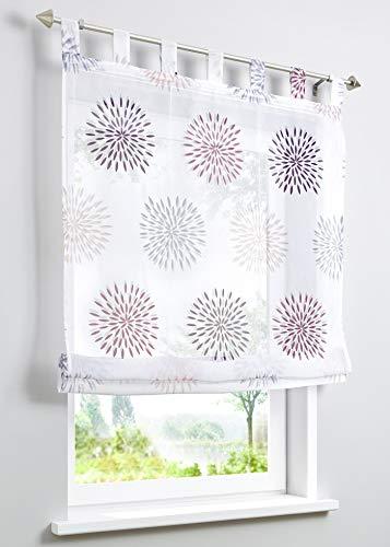 ESLIR Raffrollo mit Schlaufen Gardinen Küche Raffgardinen Transparent Schlaufenrollo Vorhänge Kreis-Motiven Modern Voile Lila BxH 120x140cm 1 Stück