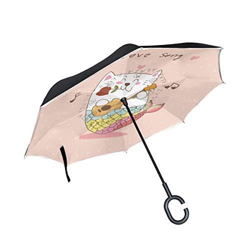 Meerjungfrau Katze Gitarre Liebeslied Invertierter Regenschirm UV-Schutz Winddichter Umbrella Invertiert Schirm Kompakt Umkehren Schirme für Auto Jungen Mädchen Reise Strand Frauen