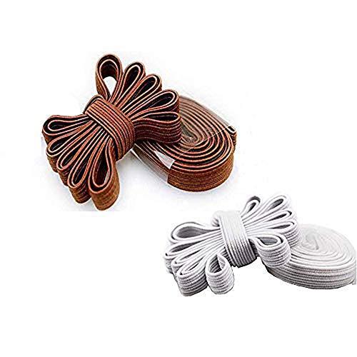 DB Elastische Schnürsenkel ohne Binden Ersatz Schnürsenkel flache elastische Schnürsenkel für Laufen Leichtathletik Herren Damen Kinder, (White&coffee(2 Pack)), Einheitsgröße