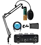MXL V67G Large Capsule Condenser Microphone for Vocals Bundle with Behringer U-PHORIA UM2 USB Audio Interface for Windows and Mac, Blucoil 10-FT Balanced XLR Cable, and Boom Arm Plus Pop Filter