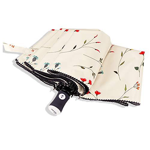 Cuby Regenschirm, Automatic Opens and Closes Automatically, sturmsicher Wasserabweisende, Mini, Leicht & Kompakt (weiß Blume)