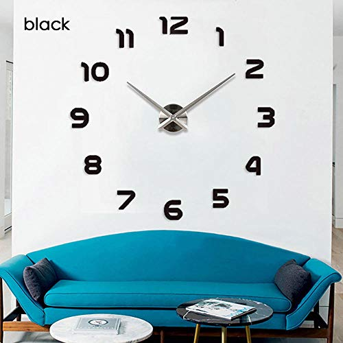 SHYSBV 3D heldere wandklok DIY woonkamer decoratie huis mode wandklok kwarts 47 pulgadas Blanco Y Gris