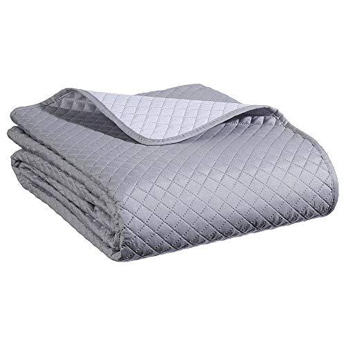 Juego de cama - Colcha bouti para cama con sus dos fundas de cojín - Suave y cálido - Gran tamaño - Bicolor (Gris perla/Blanco)