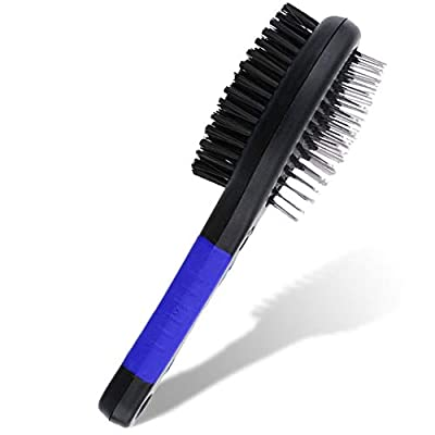 2 in 1 Double Sided Dog Brush | Cat Brush | Puppy Brush | For Dog Grooming Kit | Pet Hair Remover Brush | Pet Brush | Dog Brushes for Grooming Products for Dogs Cats Pets (Blue)