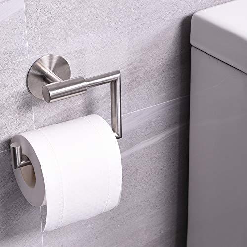 Dailyart Toilettenpapierhalter Toilettenpapierrollenhalter Klopapierhalter Klorollenhalter Klopapierrollenhalter Kleben Ohne Bohren Selbstklebende Wandmontage, Edelstahl, Gebürstet 4