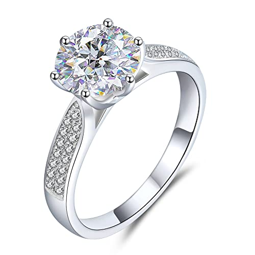 Engagement Rings for Women,18K Platinum Moissanite Diamond,2.16 ct D Color VVS1 Clarity...