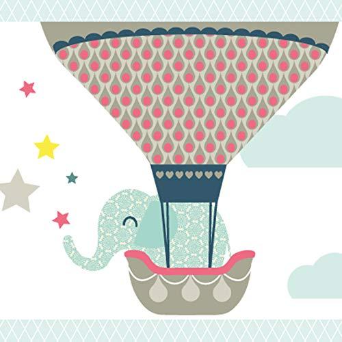 Anna Wand Bordüre selbstklebend HOT AIR Balloons - Wandbordüre Kinderzimmer/Babyzimmer mit Tieren in Heißluftballons - Wandtattoo Schlafzimmer Mädchen & Junge, Wanddeko Baby/Kinder