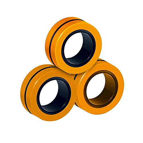 LIWEIXKY 3 Set Magnet Toys, Fidget Spinner, Stress Relief Magnetic Ring Finger Spinning In The Air, Magnetic Rings Fidget Toy, Anti-Stress Fidget For Games, Kid, Adult Orange 3Set