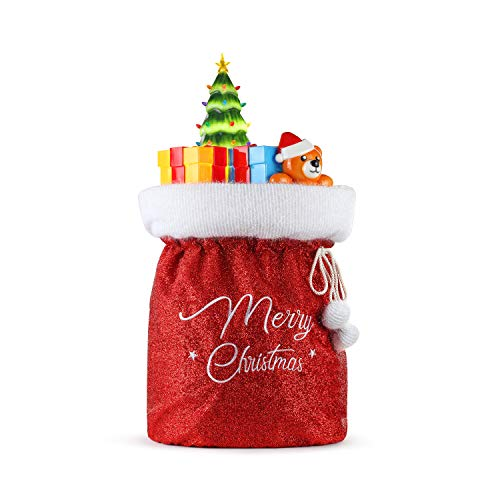 Mr. Christmas Fabric Santa Bag with Blow Mold Toys Christmas Décor, Red