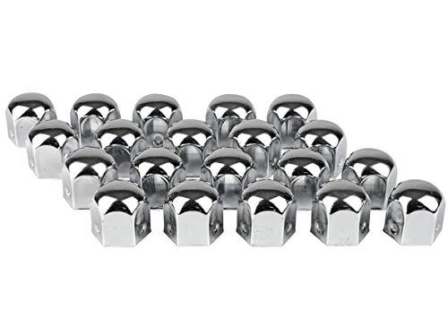 Eufab 15231 Verchromte Radschraubenkappen, 19 mm, Metall, 20 Stück im Blister