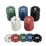 Tomaibaby 100Pcs Jetons d'apprentissage en Plastique Jetons de Jeu Mini Jetons de Poker
