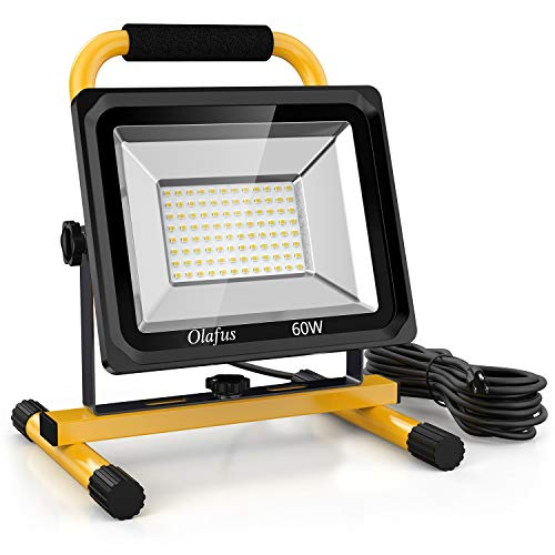 Olafus 60W LED Work Light (400W Equivalent), 6000LM 2 Brightness Modes, IP65 Waterproof Job Site...