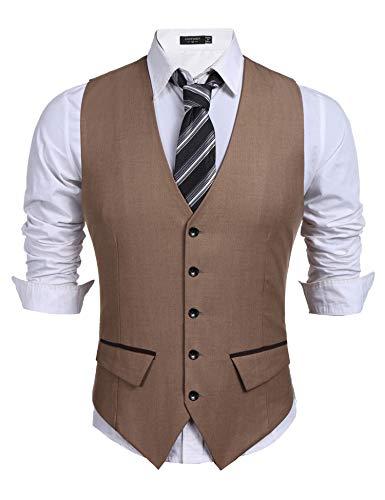 COOFANDY chaleco para hombre chaleco de traje cuello en v sin mangas ajustado chaleco occidental chaleco para hombre traje para hombre boda negocios (caqui, XXL)