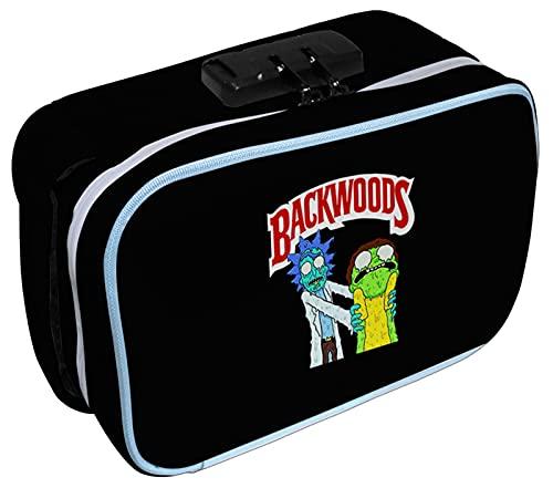 HANDAFA Unisex Backwoods Smell Proof Bag with Lock Fashion Odorless Bag Stash Box(Rick Morty)
