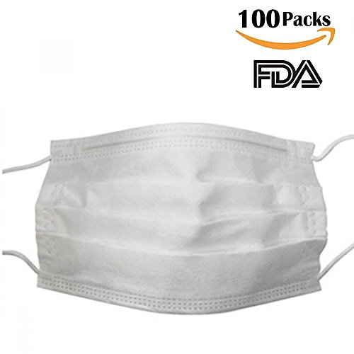 100 White Disposable Dust 3-ply Filter Mask(Respirator), Medical Clean Face Mask with Earloop(Nail Art, Sweeping, Household,), Anti-Dust Protection