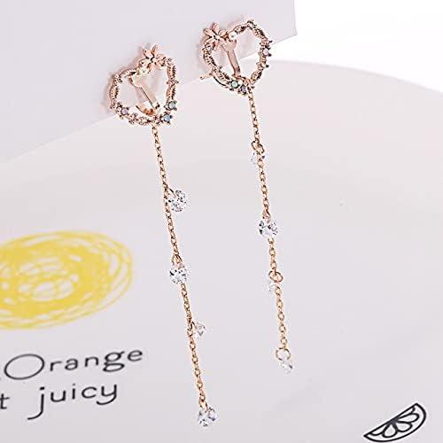 Korean Sweet Pink Heart Clip On Earings Cubic Zirconia Long Non Pierced Earring brincos pendientes