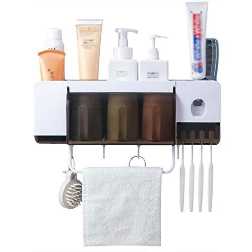 Badkameraccessoires wandhouder voor tandenborstelhouder, elektrische tandenborstel voor volwassenen, voor kinderen, 4 sleuven, scheerapparaat, kam, tandpasta