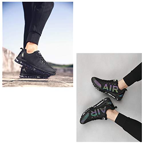 TORISKY Unisex Sportschuhe Herren Damen Laufschuhe Sneakers Turnschuhe Fitness Mesh Air Leichte Schuhe Rot Schwarz Weiß (A61-BK35) - 5