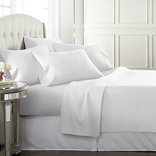 Danjor LinensQueenSize Bed Sheets Set - 1800 Series6 Piece Bedding Sheet & Pillowcases Sets w/ Deep Pockets - Fade Resistant & Machine Washable -White
