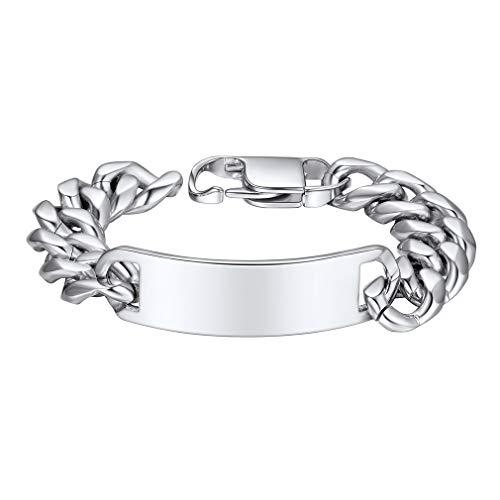 Custom4U Mens Chunky Armband Mannen Zilveren Armbanden 21CM Zilveren Armband