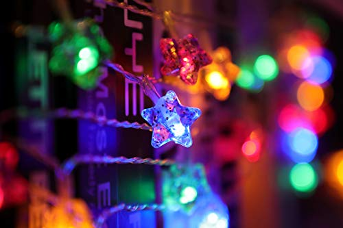 Star Outdoor Lights, 8 Modes Solar Powered 24.6 Ft Waterproof Christmas Lights for DIY Patio Halloween Christmas Craft Thanksgiving Carnival Festival Decorations, Colorful
