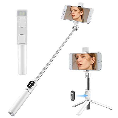2021 Newest Selfie Stick for iPhone Portable with LED light Wireless Bluetooth Tripod Selfie Stick with Detachable Remote Compatible with iPhone 12/11/10/XR/X/Pro and Android Smartphone(White) (White)