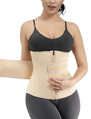 FeelinGirl Mujer Corsé Underbust Entrenador de Cintura Faja Reductora Huesos Plásticos Tejido Saludable con Cremallera Waist Trainer Beige S/Talla 36