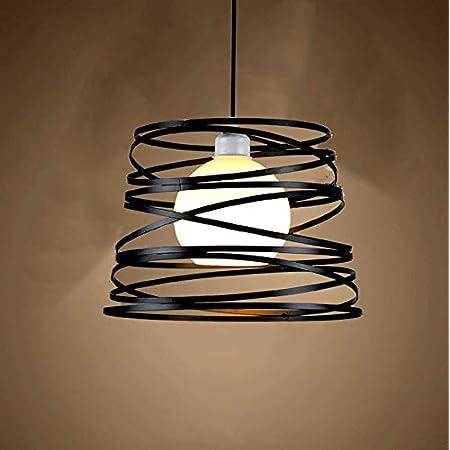 Suspension Industrielle Rétro Ø30cm, Lustre Vintage Abat-jour Luminaire en Métal Plafonnier E27 Corde Ajustable Décoration (Noir)