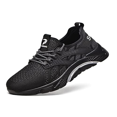 R-Win Entrenadores de seguridad para hombres y mujeres puntera de acero transpirable zapato de trabajo ligero protector calzado casual sneakers, negro, gris, 43.5 EU