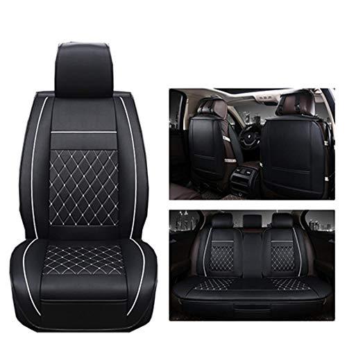 LUOLONG Seggiolino Auto di Cuoio Universale Copre per Tutti I Modelli Land Rover Range Rover Freelander Scoperta Accessori Auto Evoque, Nero Standar Bianco