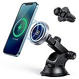 Hinyx Chargeur sans Fil Voiture Magnétique 15W Chargeur Induction Voiture Magnétique Support Chargeur sans Fil Rapide avec Autocollant Magnétique Compatible avec Magsafe iPhone 12/Pro/Pro Max/Mini