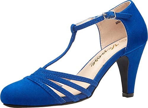 VEPOSE Women's 1920s Flapper Girl Heels T-Strap Mary Jane Kitten Pumps Vintage Dance Shoes Blue Suede(11,Flapper-043-Blue Suede)