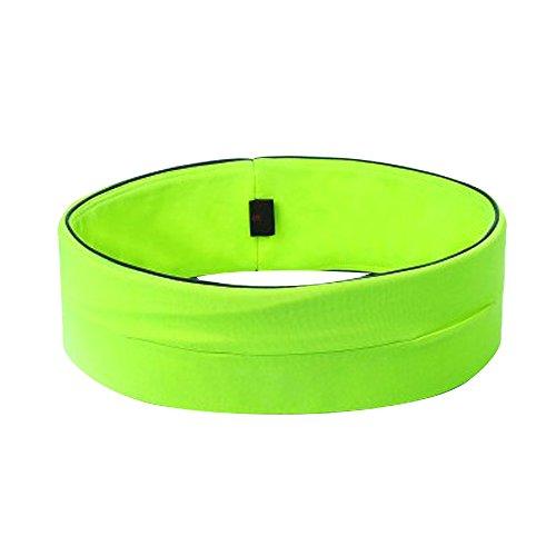 Alxcio Durable Course Fitness Ceinture Sport Reins Pack Ceinture Extensible Réglable & Réfléchissant, Idéal pour Transporter Téléphones Clés Cartes Argent, Vert M