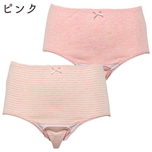 西松屋2枚組クロッチオープン産褥ショーツ(無地・ボーダー)【M-L・L-LL】L-LLピンク