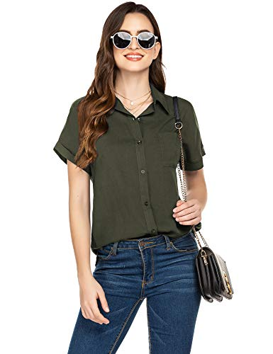 Hotouch Short Sleeve Button Up Shirt Casual Business Tops Collared Shirts and Blouses Army Green XL