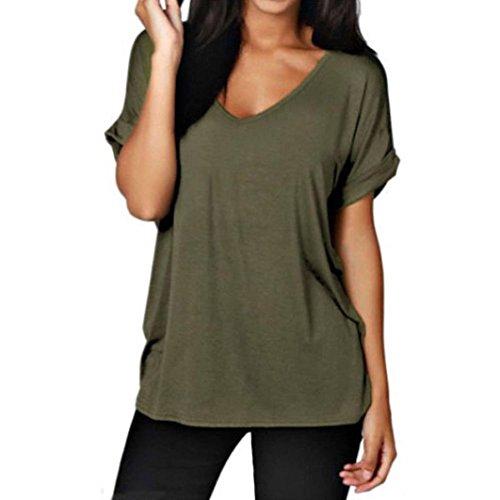 Damen Shirt Kurzarm Ronamick Frauen Lässig locker Kurzarm Damen V-Ausschnitt Top T-Shirt (Grün, XL)