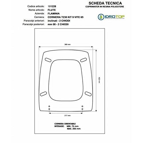 ACB/COLBAM Toiletbril van hout, gecoat met polyester voor Flaminia FLUTE CHAMPAGNE ritssluiting Soft Close Cromo-Sedile-Asse-Wc