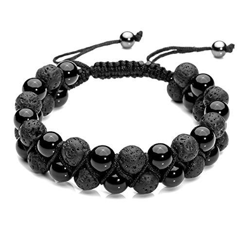 Top Plaza Men Women 8mm Lava Rock Stone Aromatherapy Essential Oil Diffuser Bracelet Braided Rope Natural Stone Yoga Beads Bracelets - Black Agate Onyx