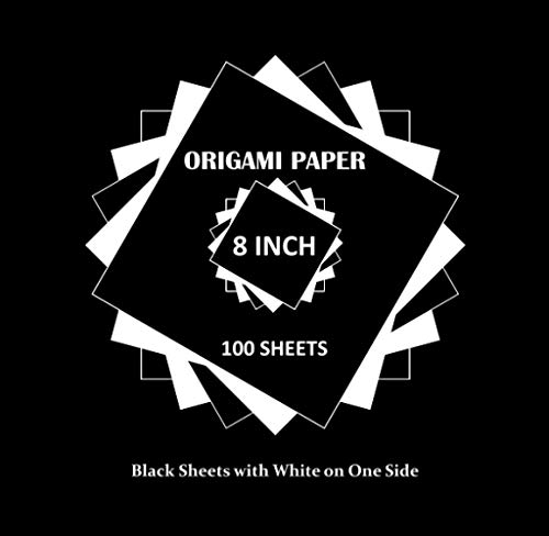 Origami Paper: 100 Sheets 20x20cm / 8 inch Large Single Sided Black with White on One Side for Arts and Crafts Projects ('To Cut Out')