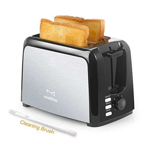 2 Slice Toaster, Multifun Stainless Steel Toaster with Warm Rack, Removable Crumb Tray, 7 Bread Shade Settings, Reheat/Cancel/Defrost Function, 1.4 Inches Extra Wilde Slot for Bagels etc. UL Certified