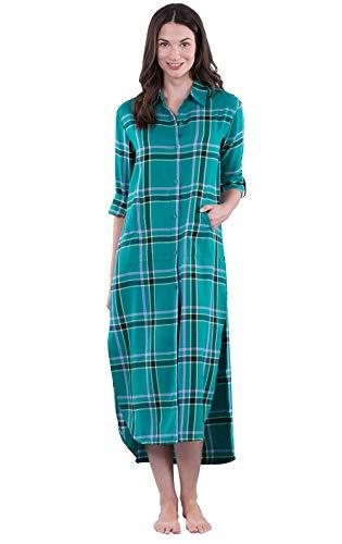 PajamaGram Women's Flannel Nightgown Plaid - Sleep Shirt, Emerald, L, 12-14